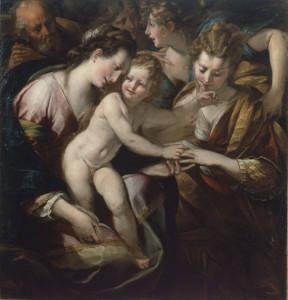 """Giulio Cesare Procaccini, """"Sposalizio mistico di Santa Caterina"""", olio su tela, 149x145 cm"""