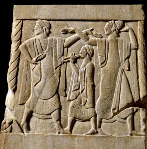 Pannello di cippo. Musica per l'aldilà, 490-470 a.C. (da Chiusi), pietra fetida, 53.3x35.5x34.3 cm - Londra, British Museum