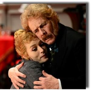 """Milano. Gabriele Lavia e Giorgia Salari in una scena di """"I pilastri della società"""" di Ibsen, in scena al Piccolo Teatro Strehler (foto di Tommaso Le Pera)"""